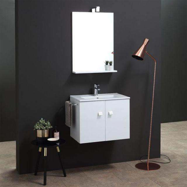 Kiamami Valentina Armoire De Toilette 60 Cm Avec Lavabo, Miroir Et Ligne CarrÉE Lumineuse Blanche