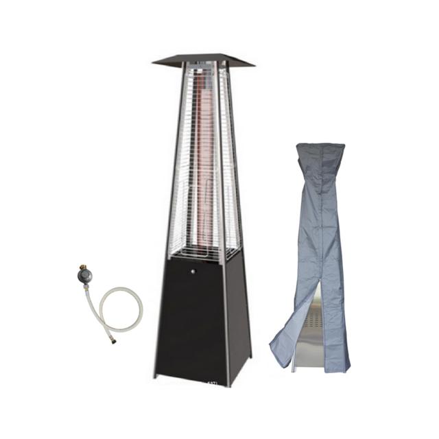 Proweltek Parasol chauffant gaz flamme 13KW tube verre pyramidal chauffage exterieur pour terrasse + kit gaz complet + housse