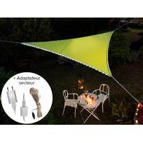 Jardideco - Voile d'ombrage triangulaire Leds solaires Vert + Adaptateur