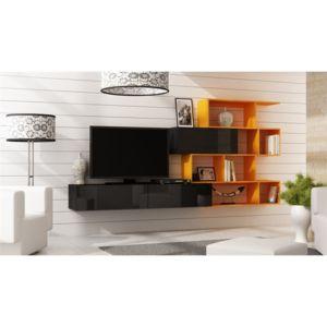 chloe design ensemble meuble tv design mariana noir et orange pas cher achat vente. Black Bedroom Furniture Sets. Home Design Ideas