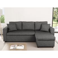 Usinestreet - Canapé d'Angle Réversible et Convertible avec Coffre en tissu gris Maria
