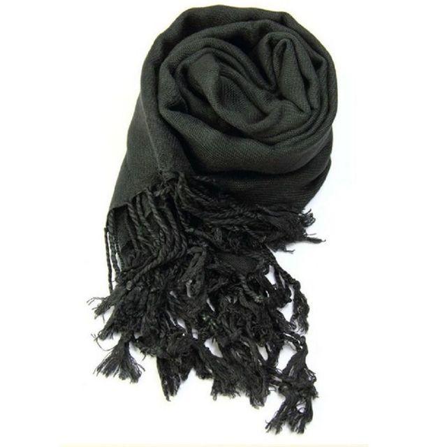 69d30f48d012 Accessoires mode pashmina étole écharpe noire - pas cher Achat   Vente  Echarpes, foulards - RueDuCommerce