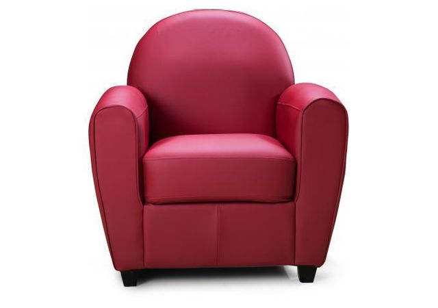 Declikdeco Fauteuil Club Effet Cuir Rouge Morgane