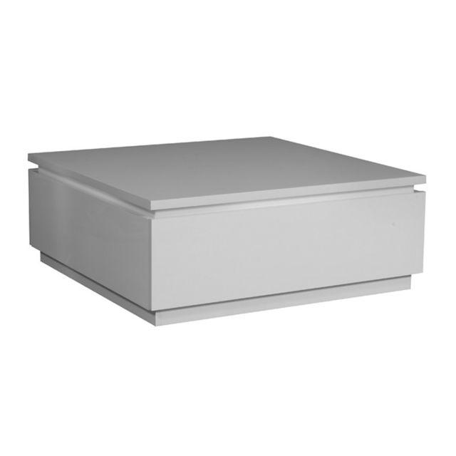Tousmesmeubles Table basse laque blanche - Carmen