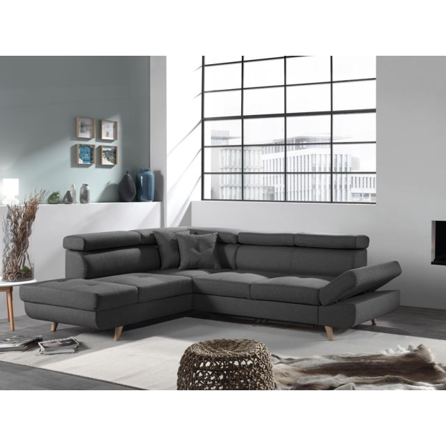 Canape Angle Gris Convertible.Linea Canape Angle Gauche Convertible Gris Fonce Style Scandinave