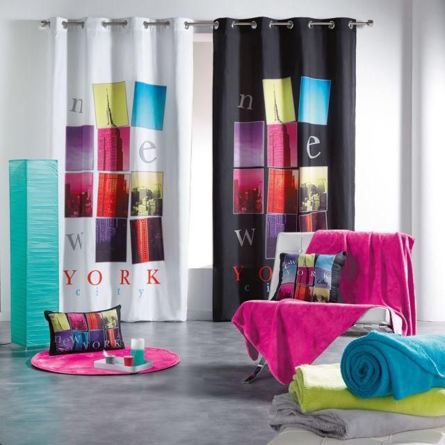 sans marque rideau oeillets 140 x 260 cm new city deux coloris noir pas cher achat. Black Bedroom Furniture Sets. Home Design Ideas