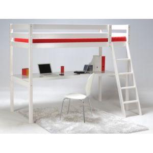 vente unique lit mezzanine prado 90x190cm bureau int gr epicea blanchi 90cm x 190cm. Black Bedroom Furniture Sets. Home Design Ideas