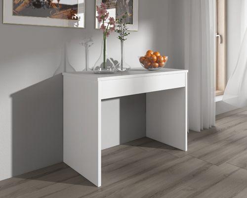 COMFORT - Home Innovation - Table de Salle à Manger extensible jusqu'à 301 cm Blanc Brillant - 49cm x 90cm x 75cm