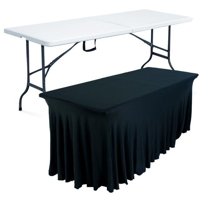 Mobeventpro Table pliante 8 places et nappe drapée noire