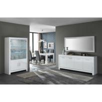 Modern salon - Ensemble Laqué blanc Modena : buffet 4p + miroir 180+ vitrine 2 + table 160 + 4 chaises adria Pu noir
