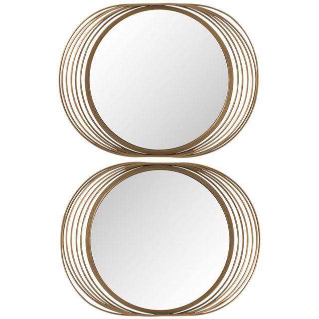 Tousmesmeubles Duo de Miroirs cercles Métal doré - Tavda