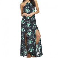 Superdry - Robe Noir Vert Eivissa Split Maxi Dress Femme