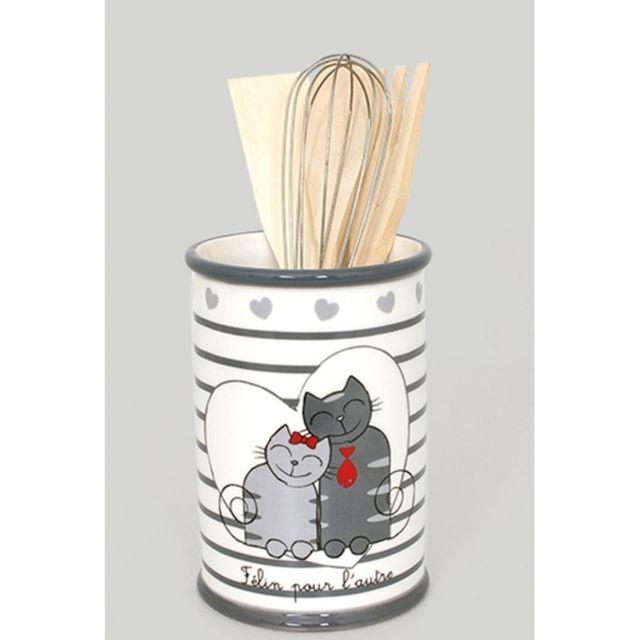 Ustensiles de cuisine en bois dans support en céramique - Blanc - Décoration chats