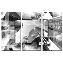 Declina - Tableau design buildings en noir et blanc - Tableau triptyque