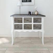 Vida - Console armoire en bois blanc avec 6 tiroirs