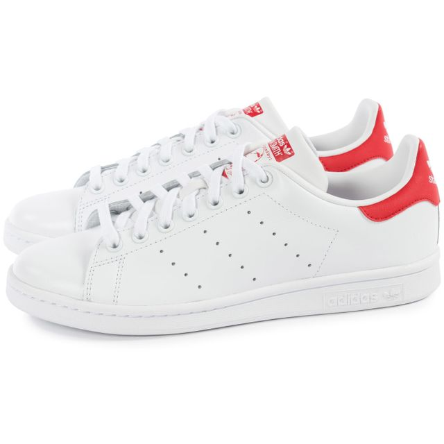 Adidas - Stan Smith Blanche Et Rouge - pas cher Achat ...