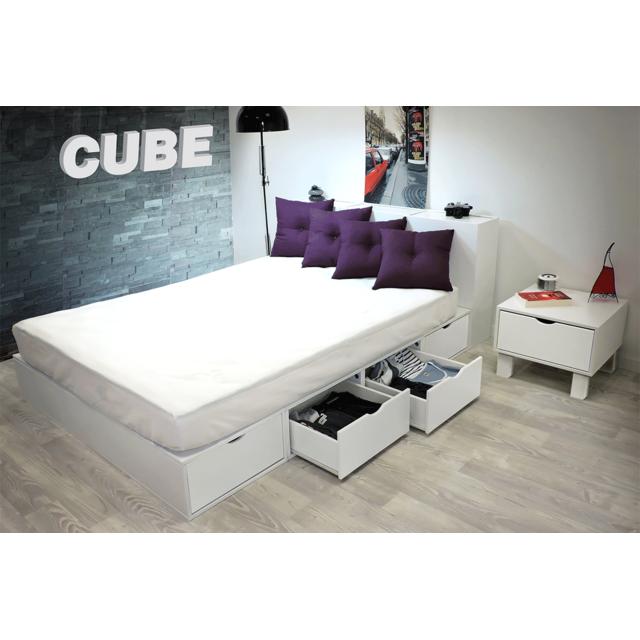 Abc Meubles Lit Cube Deux Places Blanc Avec Tiroirs Couleur Pas