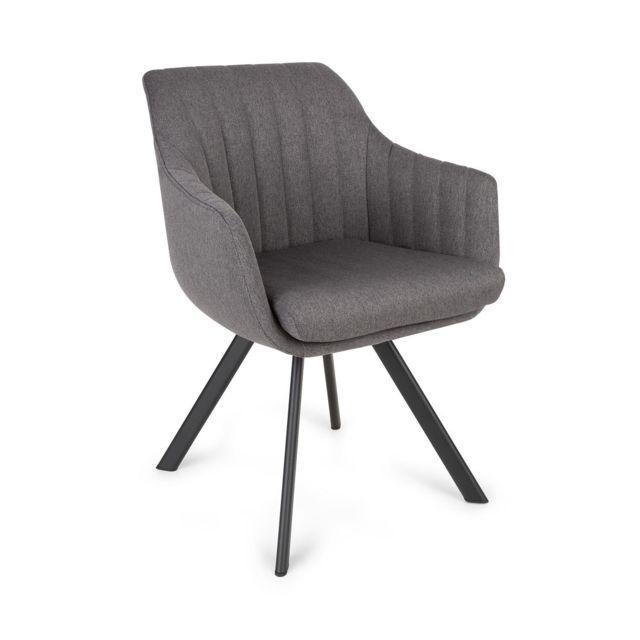 BESOA Roger Chaise design rétro rembourrée de mousse - Pieds en acier - Revêtement en polyester gris foncé