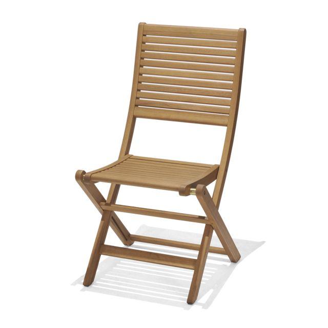Chillvert Chaise Pliante de Jardin Bois 58x49x93 cm