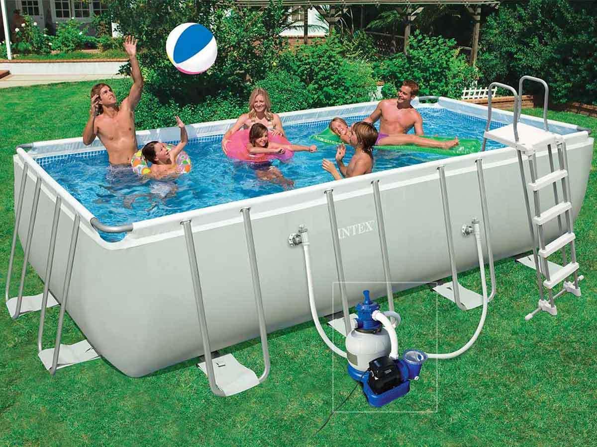 piscine tubulaire ultra silver - rectangulaire - 4 57 m x 2.74 m x 1 22 m