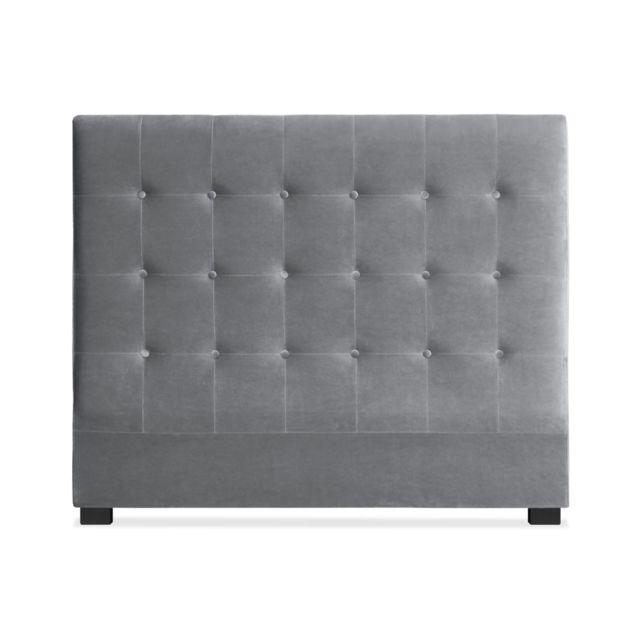 menzzo t te de lit luxor 140cm velours argent pas cher achat vente t tes de lit. Black Bedroom Furniture Sets. Home Design Ideas
