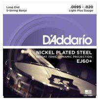 D'ADDARIO - Ej60+ Light+ 9.5-20 - Jeu de cordes Banjo 5 cordes plaqué nickel