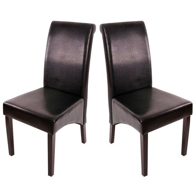 Mendler 2x chaise de séjour M37, cuir reconstitué, noir/pieds foncés