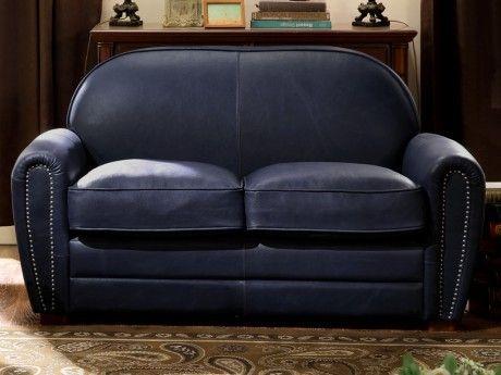 marque generique canap 2 places club en cuir baudoin bleu nuit achat vente canap s pas. Black Bedroom Furniture Sets. Home Design Ideas