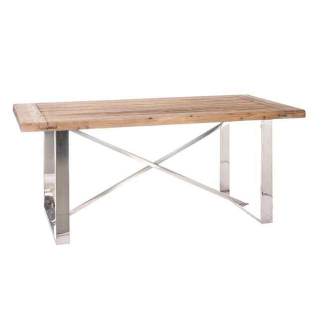 Tousmesmeubles Table de repas bois et métal brillant - Beny - L 180 x l 90 x H 76