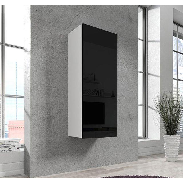Design Ameublement Armoire mural modele Livigno blanc et noir
