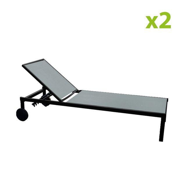 CONCEPT USINE Cuba gris x2 : lot de 2 bains de soleil inclinables en aluminium et textilène avec roulettes
