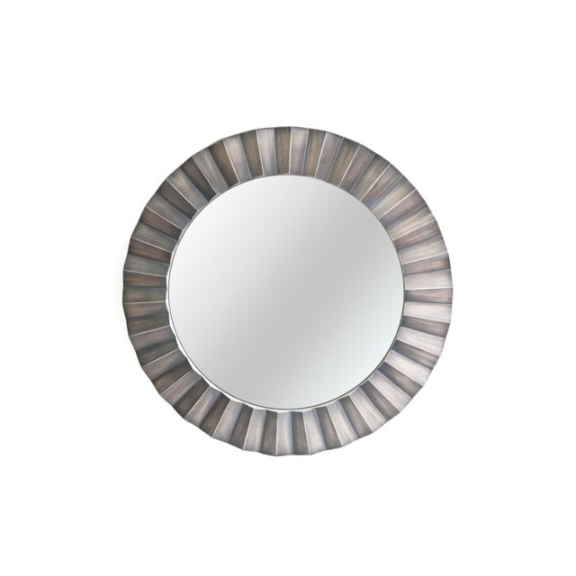 Heart Of The Home Miroir rond en métal design Flora - Diam. 80 cm - Argent