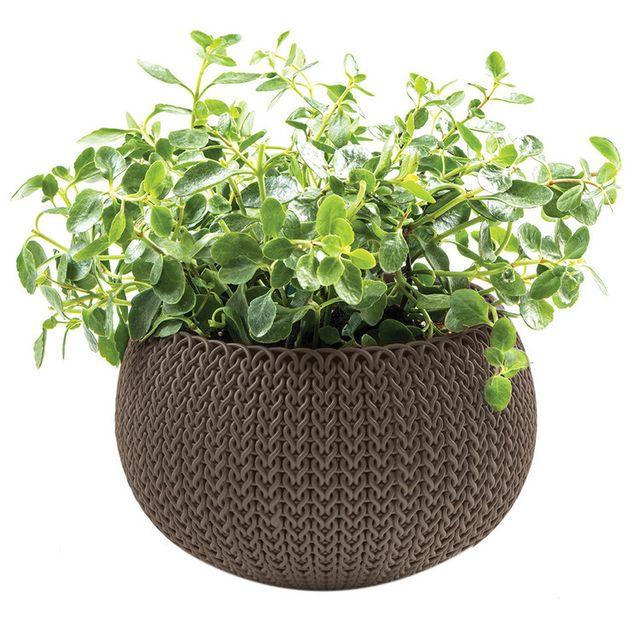 Keter - Pot de fleur rond en résine tressé -