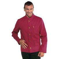 Isacco - Veste Homme Col Mao Coreana Rouge Rayé Noir 100% Coton