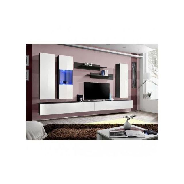 Price Factory Meuble Tv Fly E5 Design Coloris Noir Et Blanc