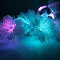 Blachère illumination - Guirlande fleurs blanches fibre optique Rgb