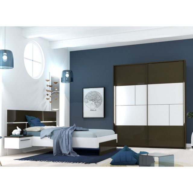 Tousmesmeubles Chambre Adulte Complète Gris/Blanc 140 190 Florine n°1