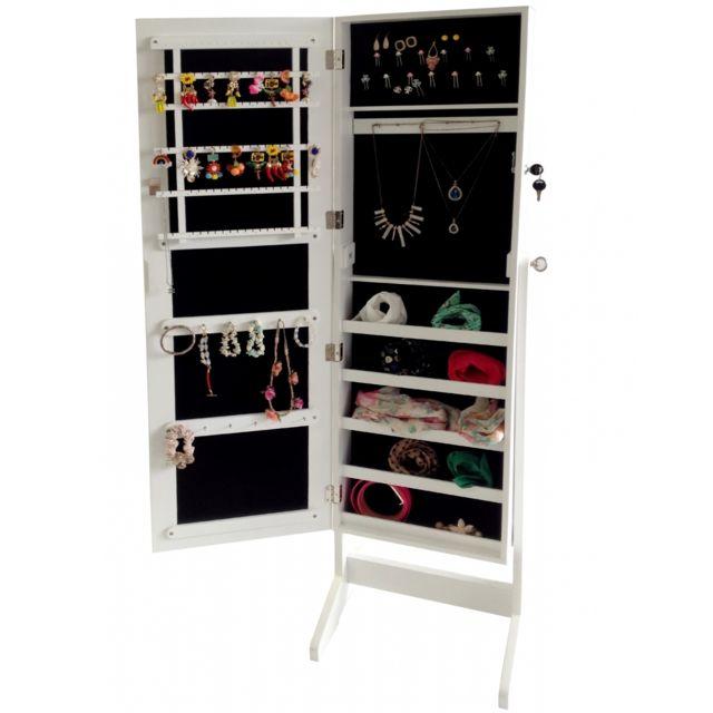 Storaddict Miroir de Rangment, Armoire à Bijoux avec Miroir, 120 x 38 x 9 cm, Blanc, Support au sol, Matériau: Mdf, Verre