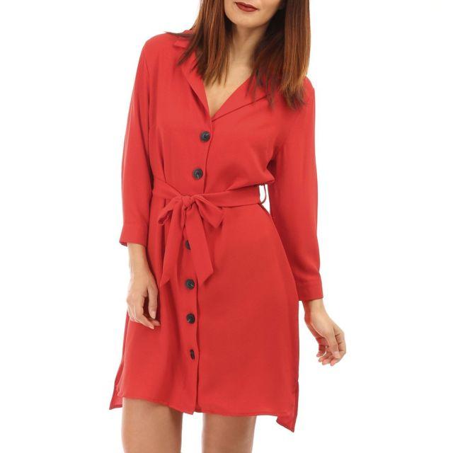 7443a72417b Lamodeuse - Robe rouge fluide avec boutons - pas cher Achat   Vente ...
