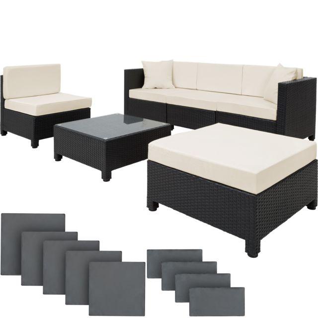Salon de jardin AMY Modulable 5 Places 4 Fauteuils 1 Tabouret 1 Table en  Résine Tressée Structure Aluminium Noir