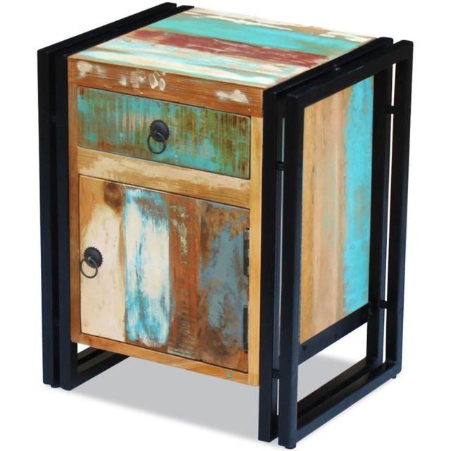 vidaxl - table de chevet bois de récupération massif - pas cher