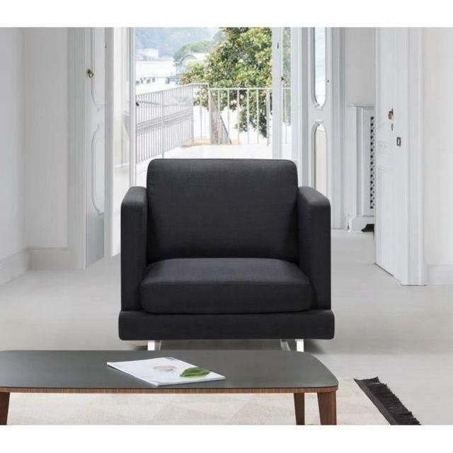 FAUTEUIL Fauteuil WESTWOOD - Tissu noir - Contemporain - L 80 x P 81 cm