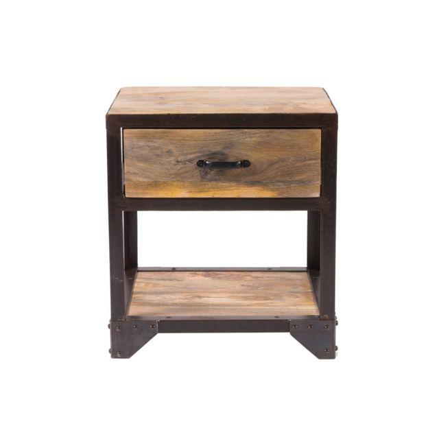 miliboo table de chevet design industriel industria pas cher achat vente chevet. Black Bedroom Furniture Sets. Home Design Ideas