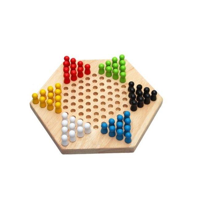 Wewoo Ensemble de jeu de famille de dames de puzzle en bois enfants hexagone traditionnel