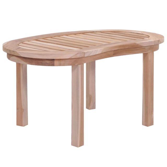 Vidaxl Bois de Teck Massif Table Basse Salle de Séjour Canapé Table de Salon