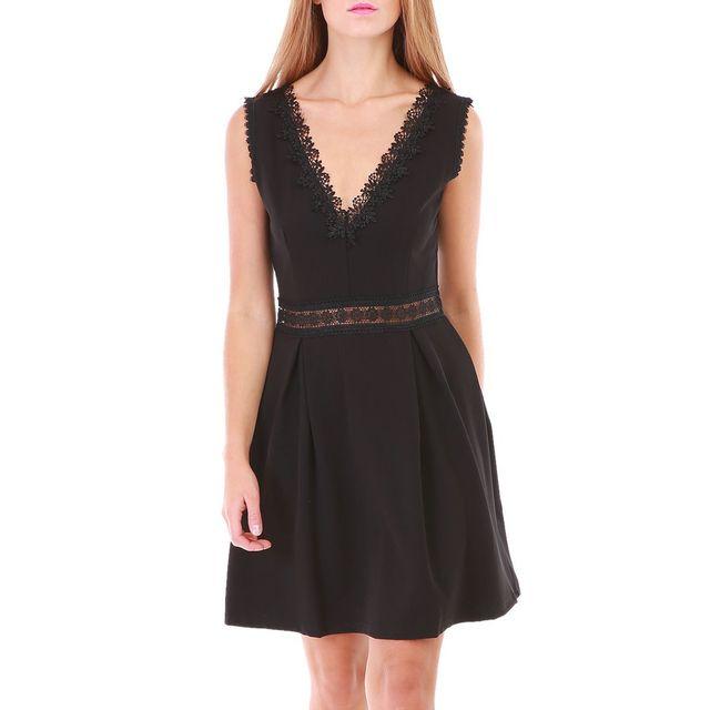 280be635da2 Lamodeuse - Robe noire décolleté en V avec crochet S - pas cher Achat    Vente Robes - RueDuCommerce