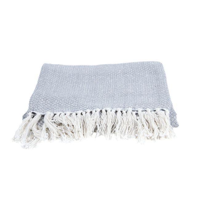 Present Time Plaid 100% coton à franges effet tricot 150x180cm Ease - Gris