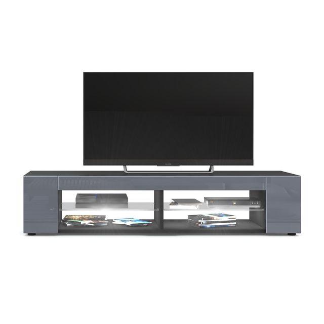 Mpc Meuble Tv Noir mat Façades en Gris laquées led Blanc