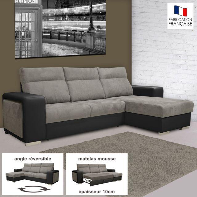 marque generique canap dangle rversible convertible pu microfibre noir et gris 158cm - Canape D Angle Reversible