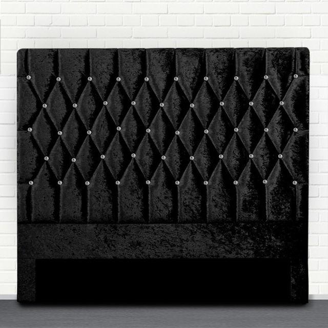 Meubler Design Tête de lit capitonné avec strass Focus - Noir tête de lit - 140 cm